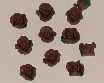 Chocolate Brown Polymer Clay Rose Flower Beads 10mm