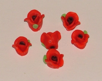 Red Polymer Clay Rose Flower Beads 10mm