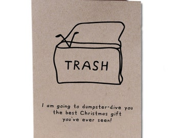 Christmas Holiday Humor Greeting Card Dumpster-Dive