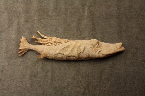 Whimsical Fish Art Wood Carving Personalized, on Etsy carved by Gary Burns the Treewiz, Handmade, Woodworking