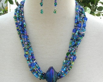 Gorgeous RARE John Curtis Focal Luster Glass Bead,6 Glass/Crystal/Pearl Strands, Bold Collector's Multi-Strand Necklace Set by SandraDesigns