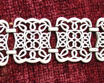 White Filigree Metal Vintage  Bracelet
