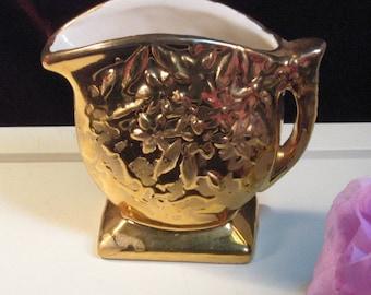 Vintage Nelson McCoy Pottery Sunburst 24K Gold Floral Mini Pitcher Antique, 1930s Antique Art Pottery, Decorative Art Pottery, Scare Piece