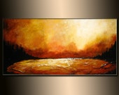 Original Textured landscape Abstract painting,Modern Lake Painting, Contemporary Lake Sunset Fine Art by Henry Parsinia 48x24