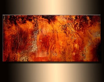 Original Abstract painting, Contemporary Modern Metallic Gold Fine Art, Canvas Art, by Henry Parsinia 48x24