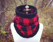 RESERVED FOR KELLEY - Buffalo Check Plaid Cowl - Red and Black