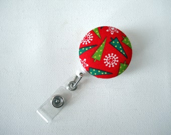 Christmas Trees - Holiday ID Badge Reel -  Retractable ID Badge Clip - Name Badge Holder, handmade by JEJEWELED