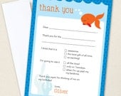 Goldfish Party Thank You Cards - Professionally printed *or* DIY printable
