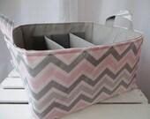 Diaper Caddy, baby caddy, baby organizer, diaper organizer, storage bin, Fabric Basket bin with adjustable dividers 12 x 10 x 7