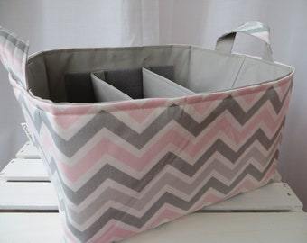 Diaper Caddy Fabric Basket bin with adjustable and removable dividers 12 x 10 x 7