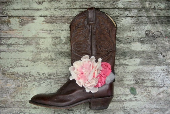 Shabby boot bracelet, cowboy boots, embellished boot accessories, rustic, country western, romantic