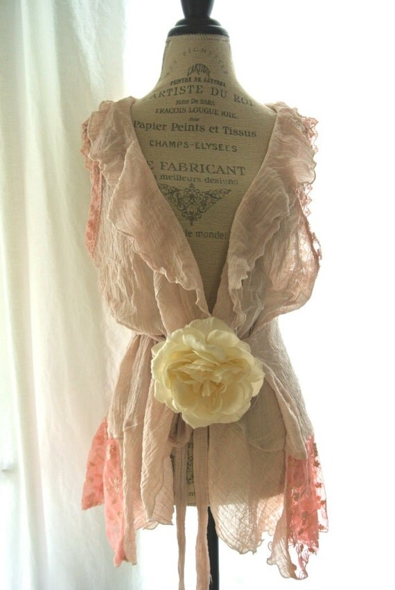 Romantic shabby shirt, pink cottage chic, boho, bohemian gypsy cotton vest, lace, country style, fall clothing, womens