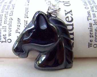 Horse Necklace Fathers Day Gift Horse Jewelry Equestrian Necklace Hemitite Jewelry Horse on Silver Chain