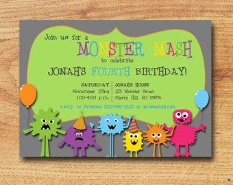 Birthday Party Invitation- Boy or Girl -Printable Custom Card-Silly Monsters