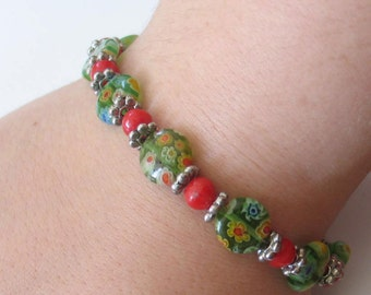 SALE  Red and Green Glass and Sterling Bracelet