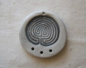 Grey porcelain labyrinth symbol pendant