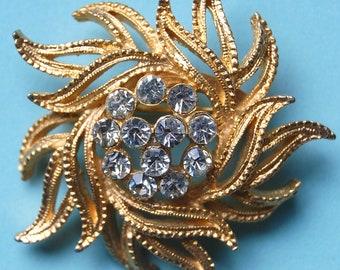 20% OFF - Coupon Code - MUSE20 - Vintage Gold Swirl and Rhinestone Pin - Lion's Mane - Sunburst - Medusa