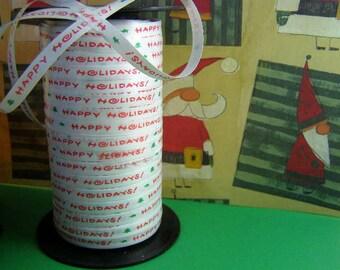 1/4 Christmas Happy Holidays Ribbon