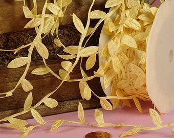 Ivory Leaves Twig Cord Leaf Ribbon