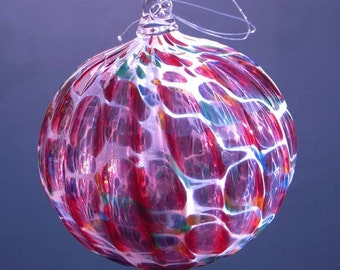 HAND BLOWN GLASS Christmas Ornament Suncatcher Ball Multi Color