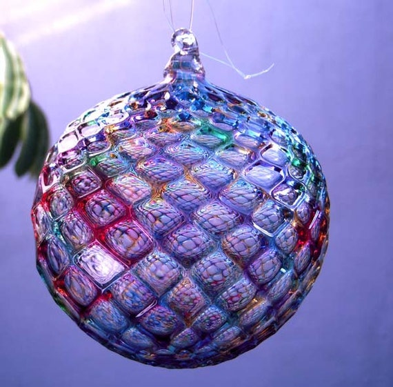 Hand blown glass christmas ornament suncatcher ball faceted