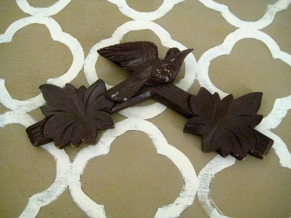 Vintage Carved Bird Cukoo Clock Topper