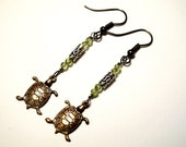Spring Earrings - Peridot Turtles - Peridot, Bali Tube Beads, Copper, Green, Good Luck, Earrings - Etsy Front Page Item