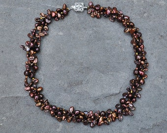 Autumn Foliage Keshi Pearl Woven Necklace - Custom Requests Welcome