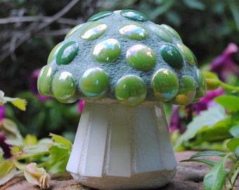 Tiny Lime Cap Mosaic Toadstool Garden Art MOO5062