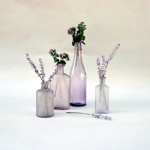 Vintage Amethyst Bottle Collection / Lavender Sun Glass Bottle Collection