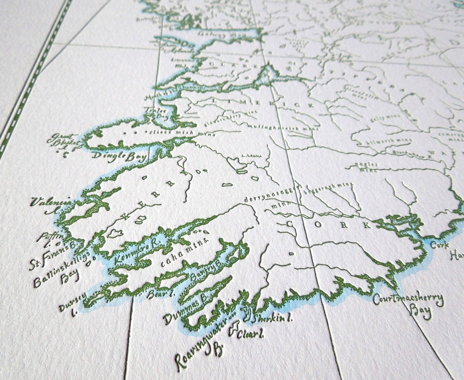 Full Map Of Ireland.Ireland Letterpress Map Quail Lane Press
