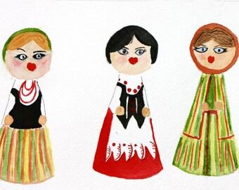 BFFs - little polish ladies, original watercolor, women, colorful dresses, people, Poland, small art, best friends