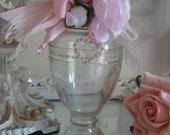 Embellished Vintage Avon Perfume Bottle, Vintage Millinery Rose, Lace, Ribbon, Rhinestone Heart   ECS