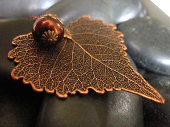 Real Leaf Necklace -  Antique Copper - Real Cottonwood Leaf Necklace with Chocolate glass Pearl Acorn- Christmas Gift