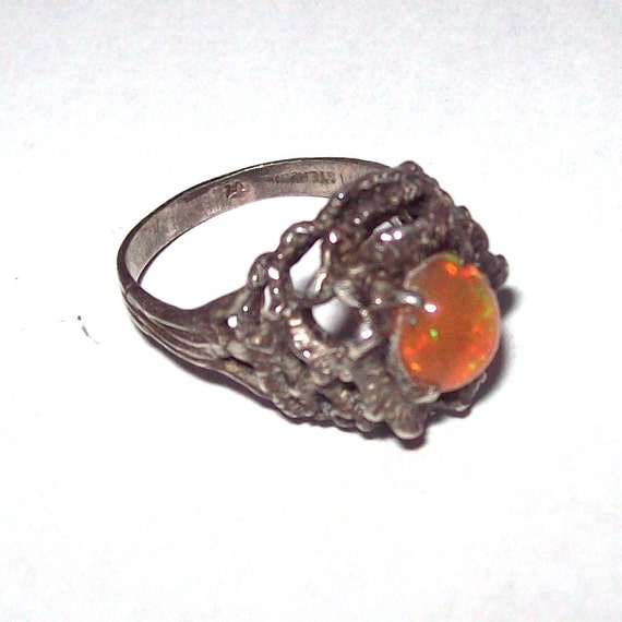 Sterling Silver Ring with Fire Opal Size 6.5