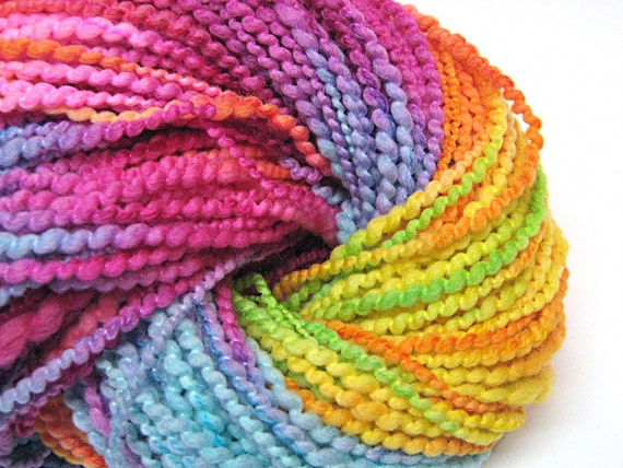 Chunky two ply rainbow yarn in handpainted thick and thin merino wool - 135 yards, 3.7 ounces/104 grams