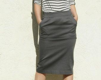 Basic Pencil Skirt-Gray