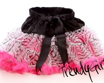 TrendyGirlz Sheer Chiffon Zebra and Hot Pink Animal Print Toddler Pettiskirt - SALE Ready To Ship