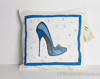 Shoe Decoration Hand Painted Pillow Cover High Heels Fashion Art Blue and Cream 16 inch Hand Made in Canada
