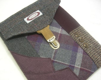 IPad sleeve, iPad  case  iPad 2 and 3 case vintage purple grey plaid,  Eco Friendly  Recycled suit coat