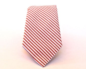 Men's Tie - Coral Seersucker - Melon and White Stripe Necktie