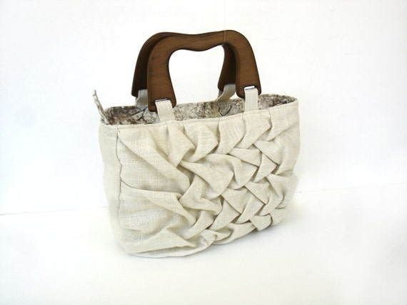 Linen purse handbag, pleated smocking detail, wood handle, natural summer fashion pocketbook