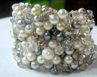 WINTER Wedding, FROSTY Blue Grey Freshwater Pearl, Wide Bridal Cuff, Sparkling Smoke Quartz Crystal,  Hand Knit, Sereba  Designs Exclusively