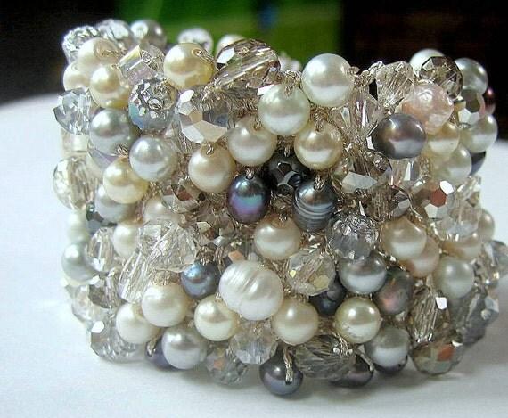 WINTER Wedding, FROSTY Blue Grey Freshwater Pearl, Two Inch Wide Bridal Cuff, Sparkling Smokey Quartz Crystal,  Hand Knit - Sereba Designs