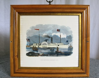 Hand Colored Steamboat Engraving -- The Steamer Eastern City