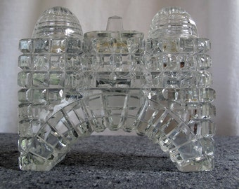 Crystal Salt and Pepper Shakers with Cruet Architectural Art Deco Cut in Bridge Form 1920s