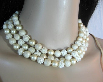 50's 60's WHITE WEDDING Beaded NECKLACE Triple Strands