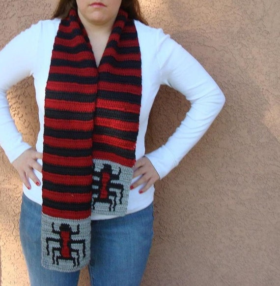 Spider Scarf for Men or Women - Red and Black Stripe Scarf, Striped Scarf - Ready To Ship