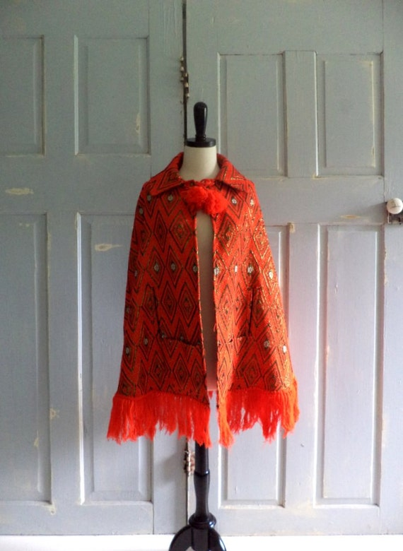 1970s Cape Tomato Red Fringed  Ethnic 70s Hippie Cape One Size Fits All