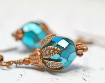 Metallic Turquoise Earrings, Turquoise Blue Earrings Metallic Earrings Snake Print Beads Earrings Copper Dangles Rustic Shabby Chic Earrings